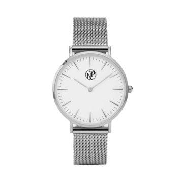 reloj acero luna de plata frontal